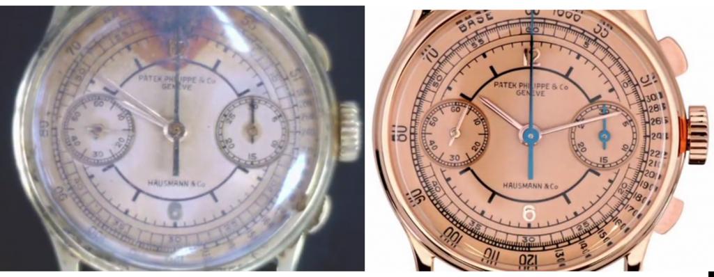 L'aspetto esteriore del risultato di un intervento di restauro di Patek Philippe su un cronografo con due contatori con cassa in oro. Ben visibile sul quadrante la scritta Hausmann & Co., che fino alla metà degli anni '70 veniva riportata su tutti i quadranti degli orologi Patek Philippe venduti dalla nostra Orologeria.