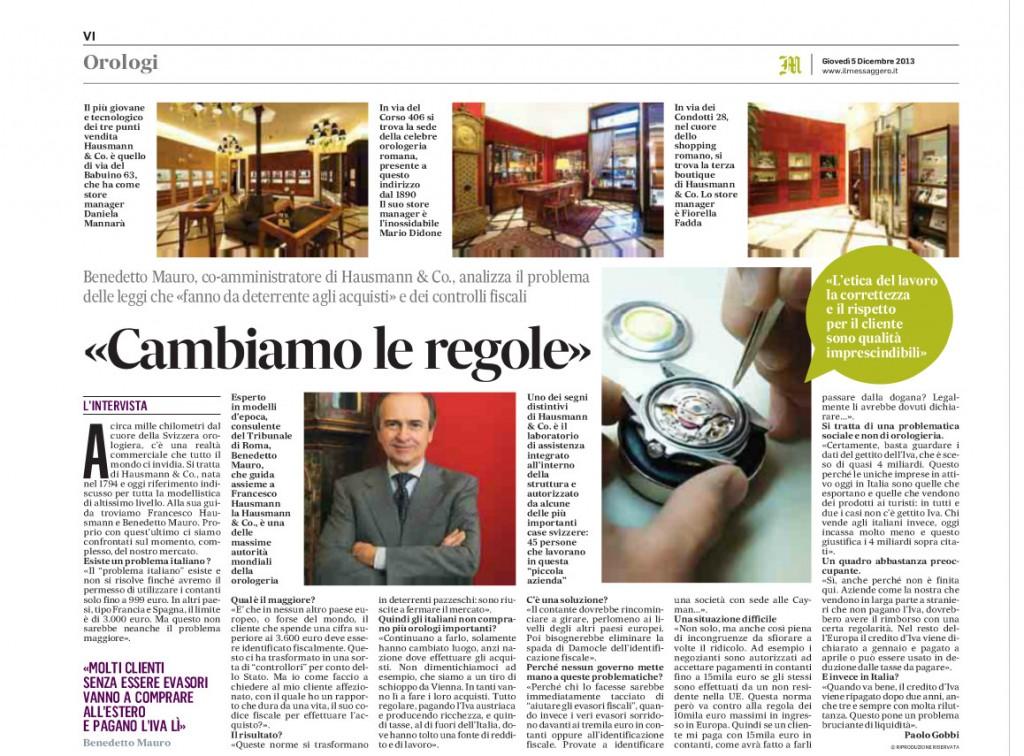Intervista a Bendetto Mauro - circolazione contante - tracciabilità fiscale dei pagamenti sopra i 3600 euro - Il messaggero- cambiamo le regole