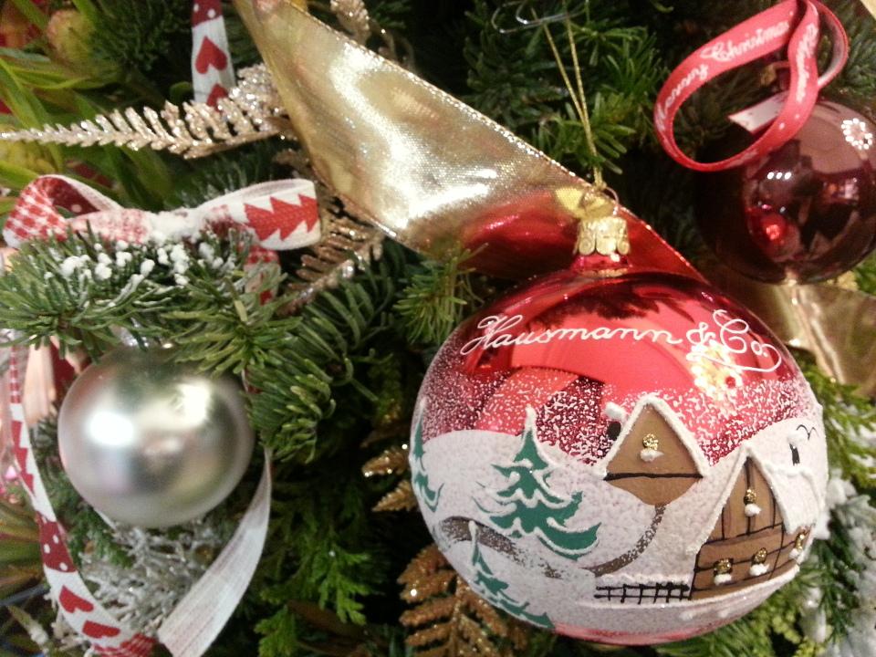 Palla di natale rossa di vetro decorata a mano _ buon natale_Italian hand made glass christmas tree ball