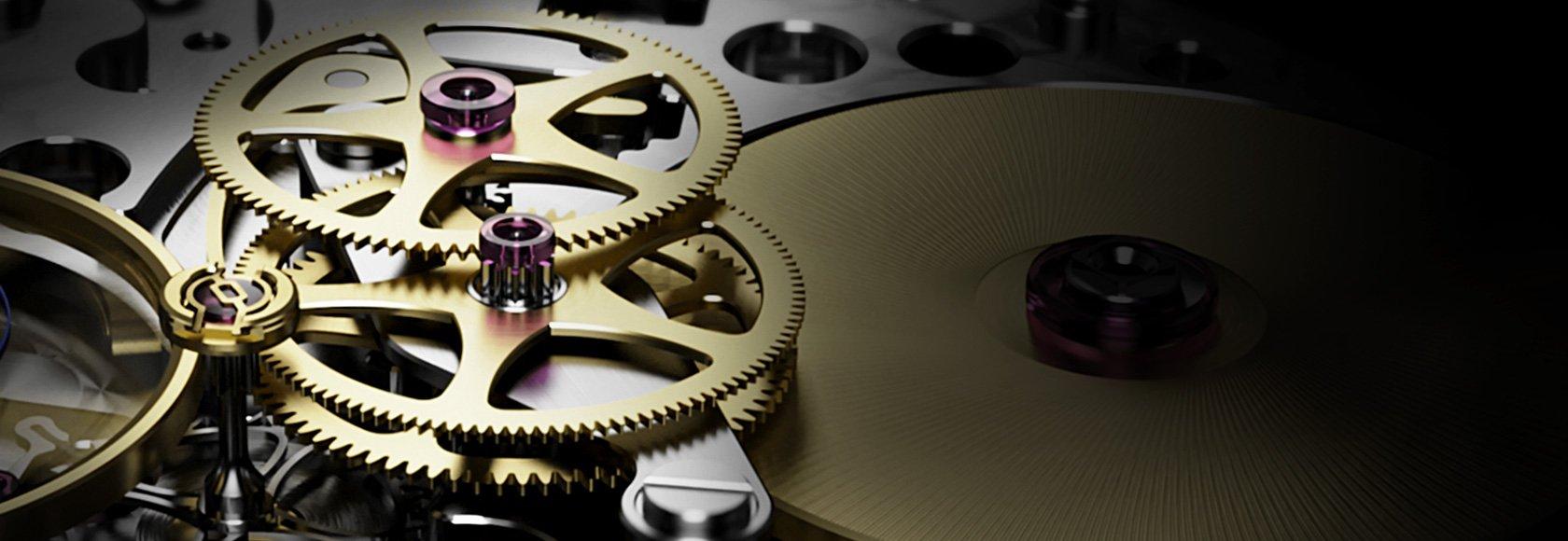 Il calibro Rolex 3255, in un dettaglio che mostra il nuovo bariletto
