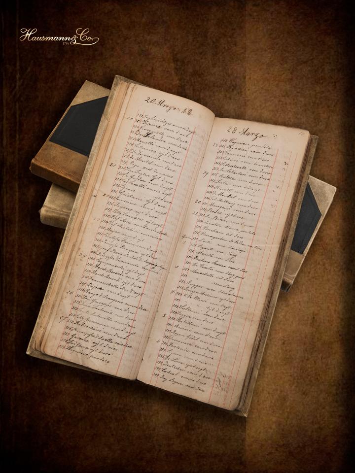 Il primo registro clienti di Hausmann & Co., datato 1881