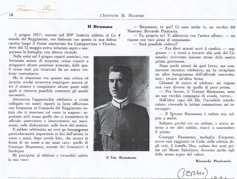 Istituto Massimo giornale interno 1917 Tenente Joseph Hausmann caduto sul Monte Grappa sotto le granate austriache durante una la prima guerra mondiale che infuriava nelle doline carische