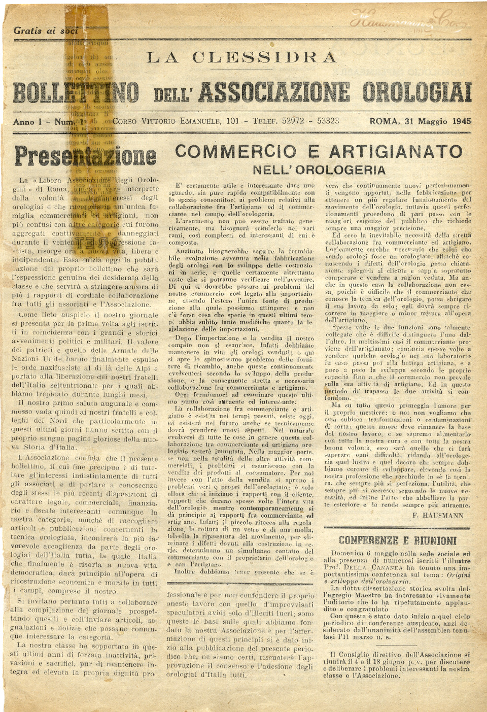 Articolo 1945 originale su orologi orologiai artigiani