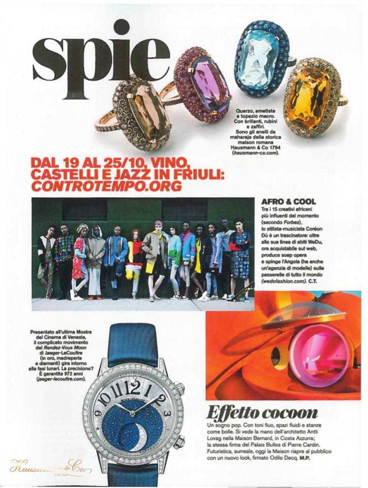 In alto, la collezione di anelli Maharaja sul redazionale di D di Repubblica del 3 ottobre 2015.