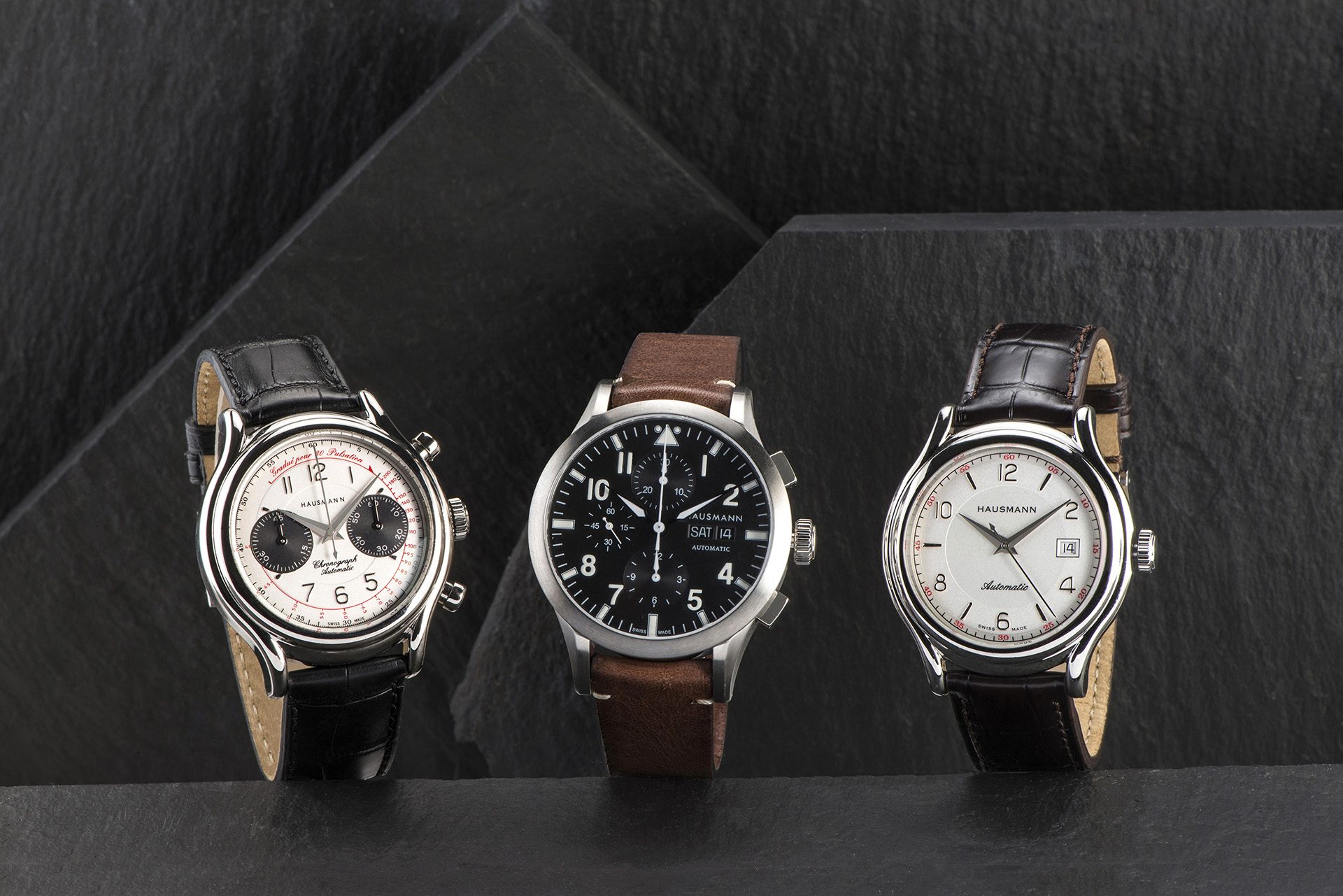 Alcuni modelli della collezione di orologi Hausmann & Co.