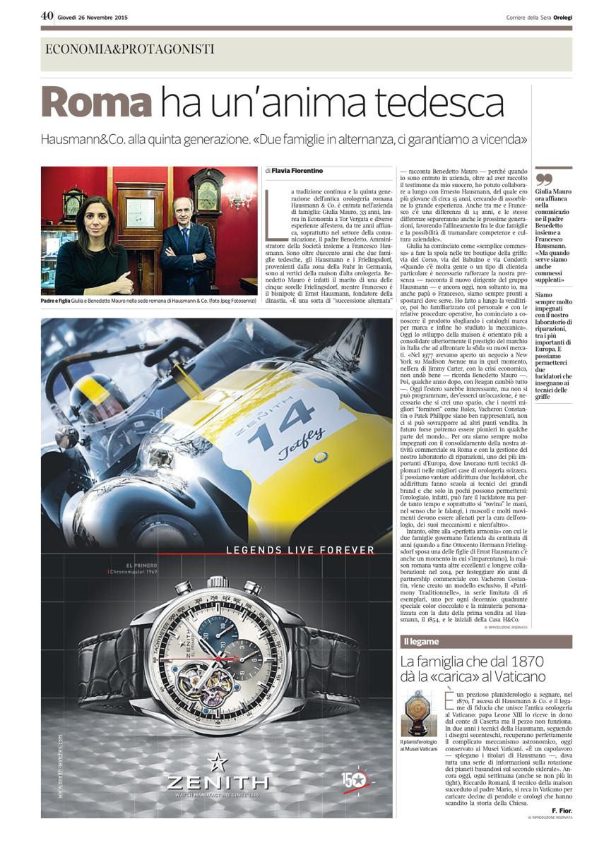 """Pagina dell'inserto """"Orologi"""" del Corriere della Sera del 26 novembre 2015"""
