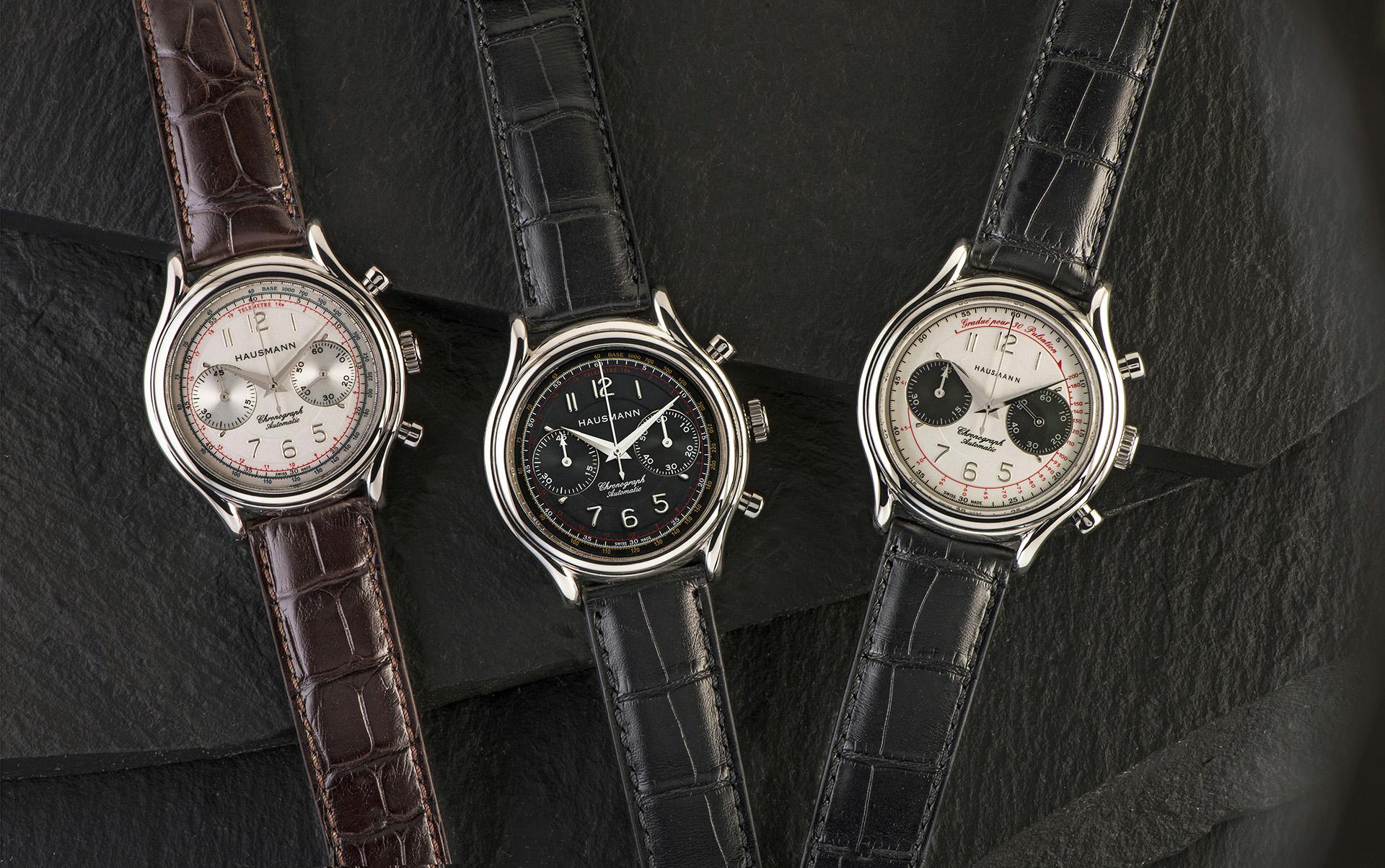 I nuovi cronografi meccanici Hausmann & Co., nelle tre varianti di quadrante.