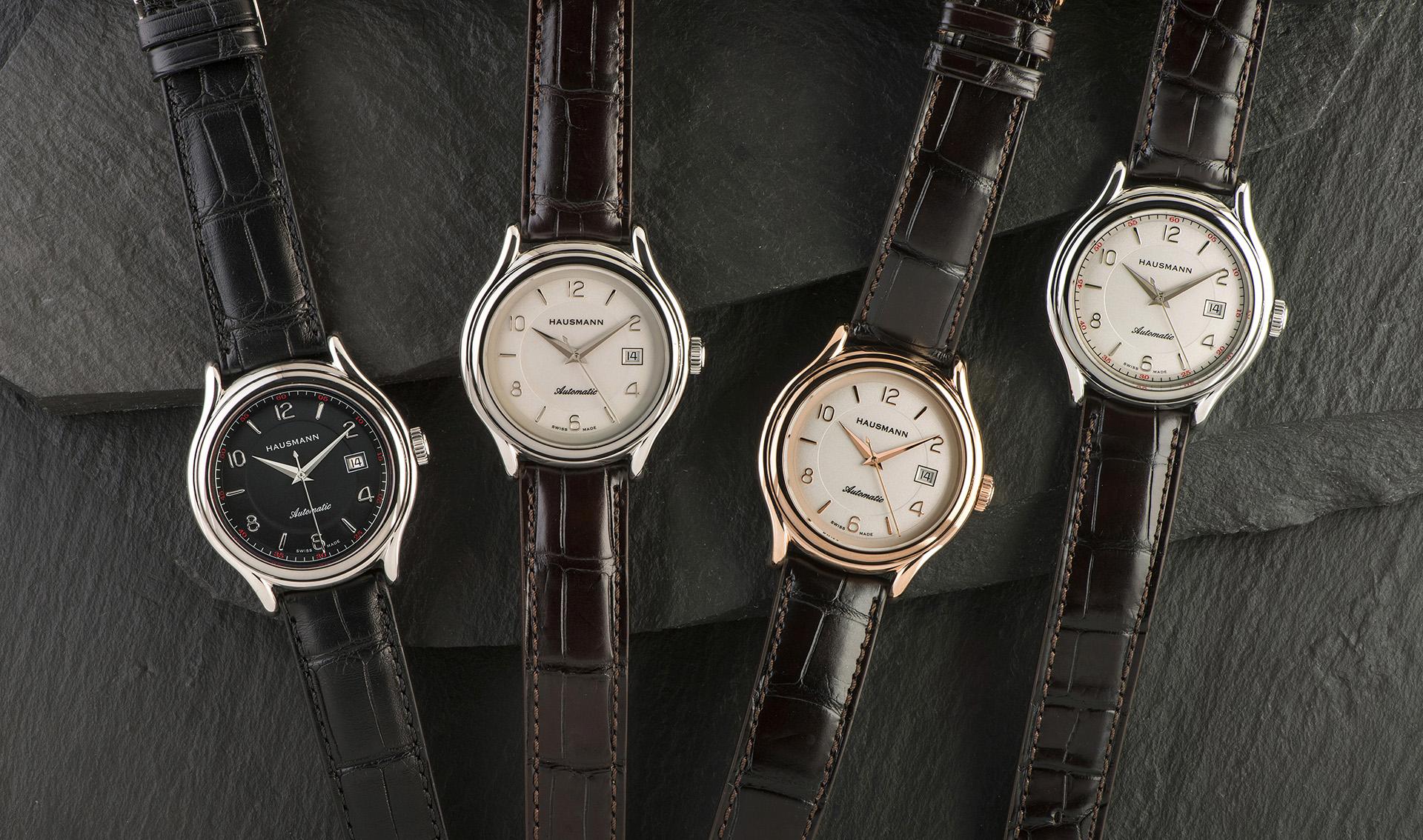 I nuovi orologi tre lancette meccanici Hausmann & Co., in acciaio o nella versione con cassa placcata in oro rosa.