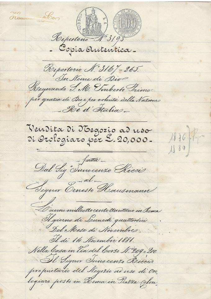 L'originale dell'atto di acquisto del Negozio