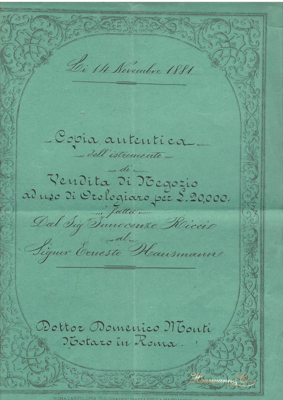 Archivio documenti storici atto notarile d'epoca copertina Hausmann & Co.