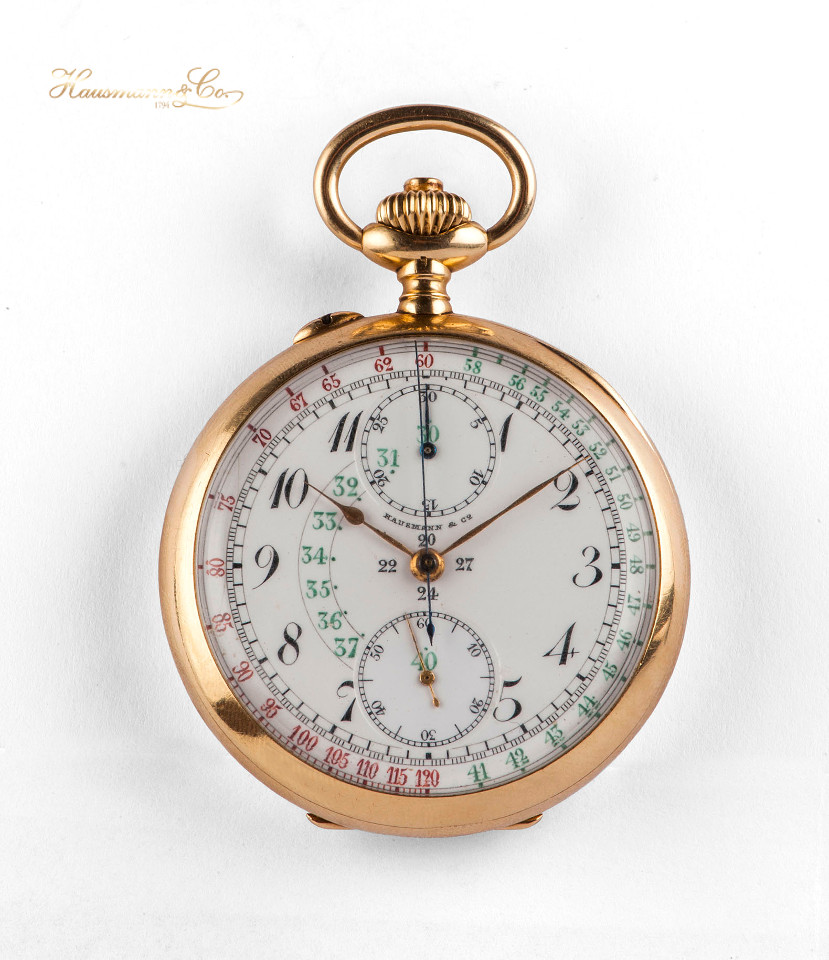 Cronografo da tasca in oro con quadrante in smalto e scala tachimetrica base 120 - gold pocket watch with chronograph and tachometric scale based on 120 kmph