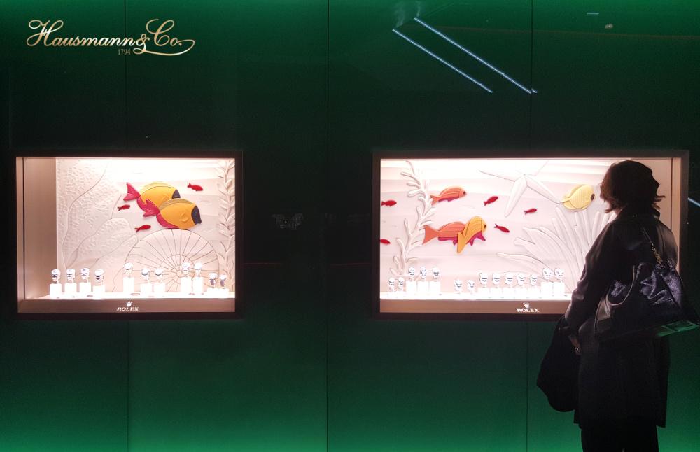 Un acquario verde ospita la collezione di orologi Rolex
