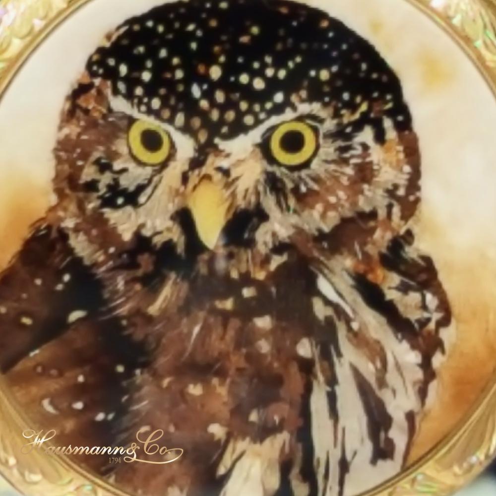 Con la tecnica dell'intarsio Patek Philippe ha decorato il fondo di un orologio da tasca raffigurando i gialli occhi di un rapace