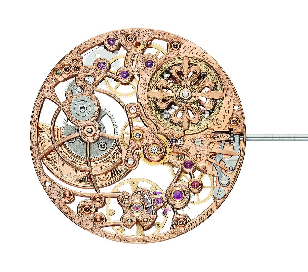Il calibro 240 SQU, ovvero il movimento scheletrato di Patek Philippe, nella versione per l'oro rosa