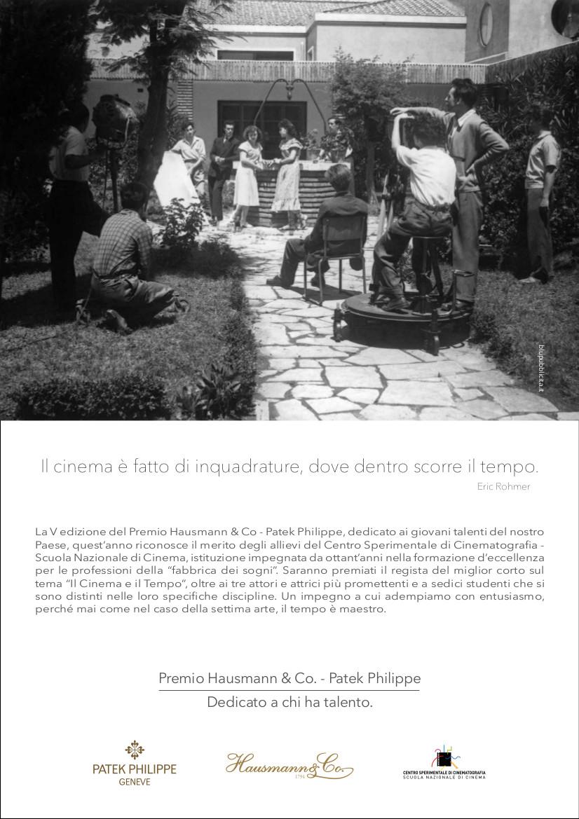 L'annuncio del V premio Hausmann & Co.-Patek Philippe, dedicato al Cinema, sulla stampa