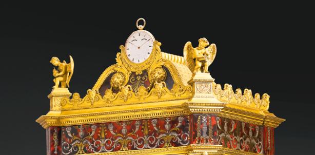 Dettaglio dell'alloggio per l'orologio da tasca all'interno della Pendule Sympathique