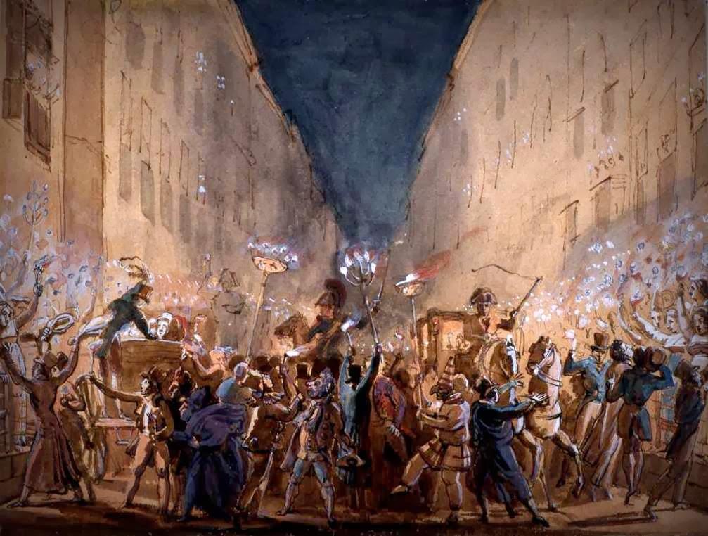 Una rappresentazione della festa dei Moccoletti, il Martedì Grasso del Carnevale Romano, in via del Corso. Jean Louis Baptiste Thomas, acquerello e tempera, 1817.