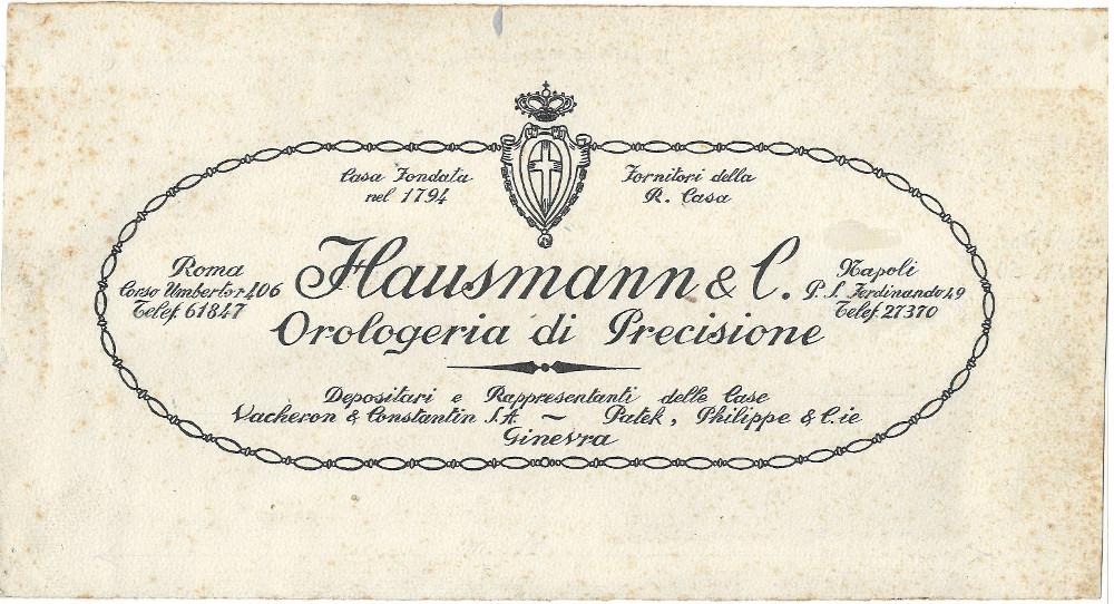 Volantino dell'antica orologeria a Roma Hausmann & Co.