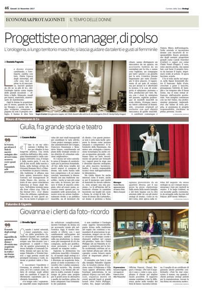 Intervista a Giulia Mauro - Hausmann & Co. per lo speciale Orologi del Corriere della Sera, novembre 2017