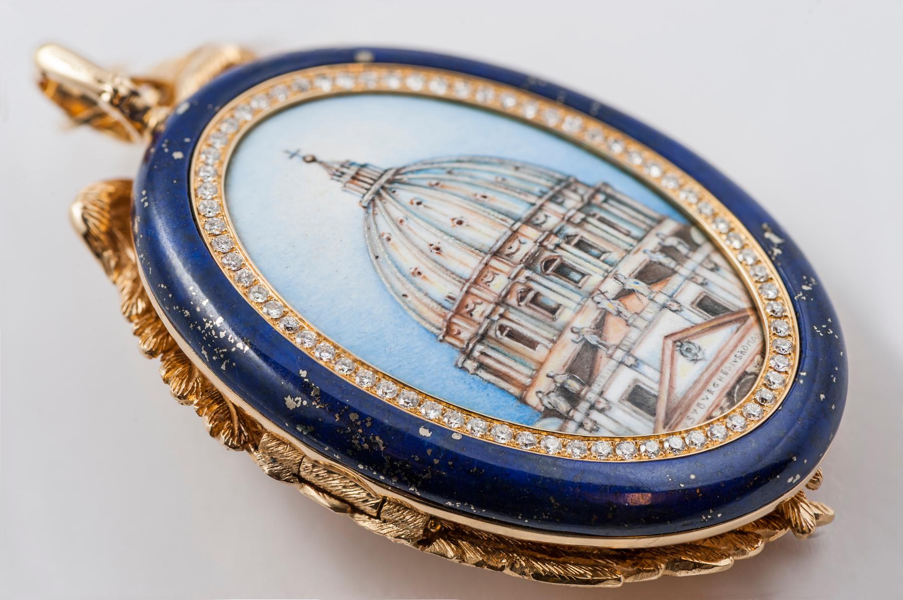 La rappresentazione in smalto della veduta diurna di S. Pietro, chiusa in un ovale di diamanti e lapislazzuli