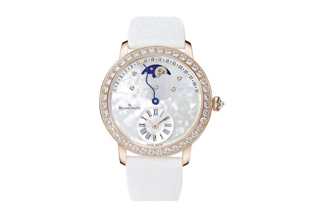 Dettaglio quadrante orologio Blancpain bianco con diamanti