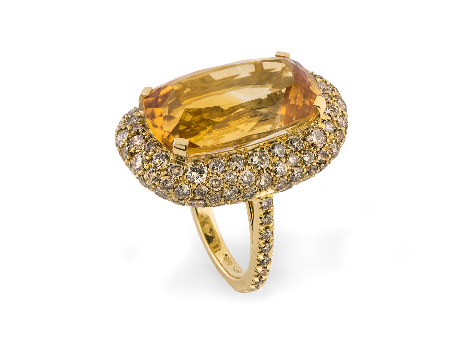 spedizione gratuita f756e 4aa6d Anello con quarzo citrino e diamanti brown   Hausmann&CO