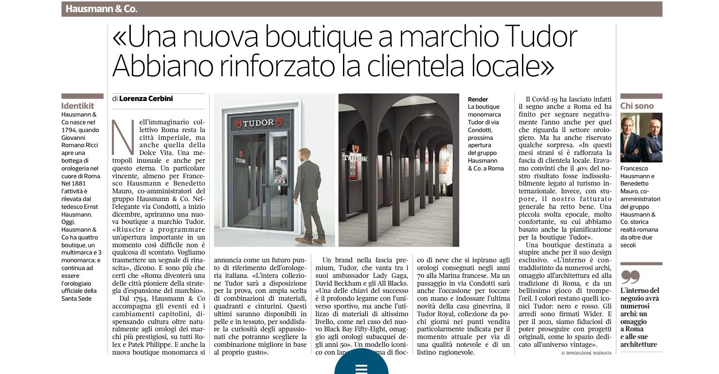 Immagine articolo di giornle apertura Boutique tudor orologi roma