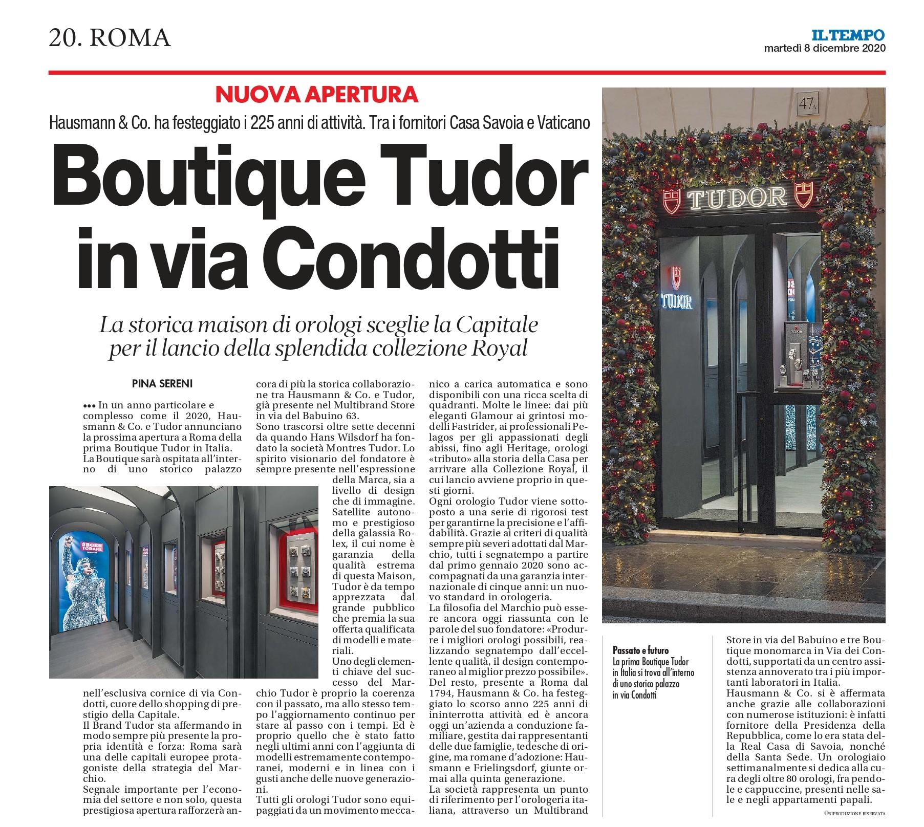 Immagine articolo Il Tempo per apertura punto vendita tudor ufficiale a roma