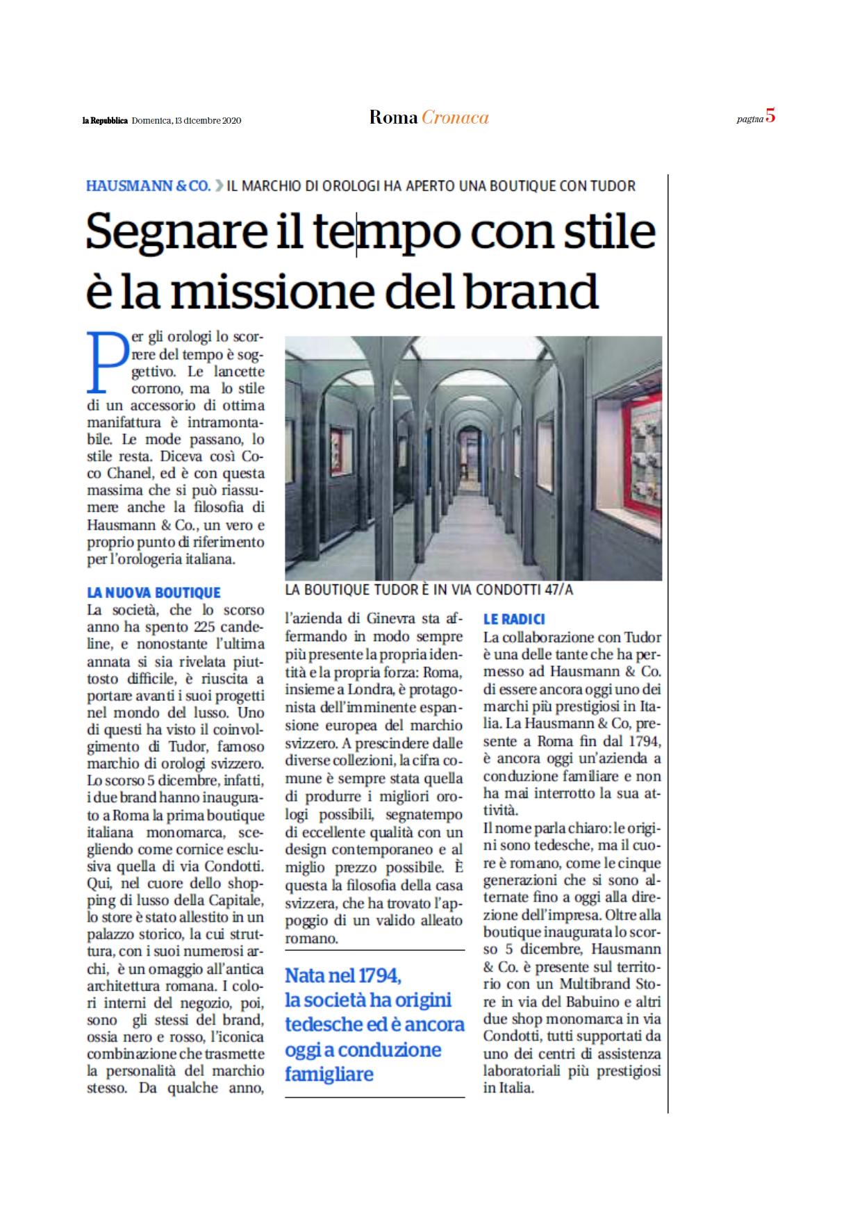 Immagine articolo La repubblica per apertura punto vendita tudor ufficiale a roma